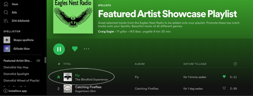 Fly on Eagle Nest Radios Playlist